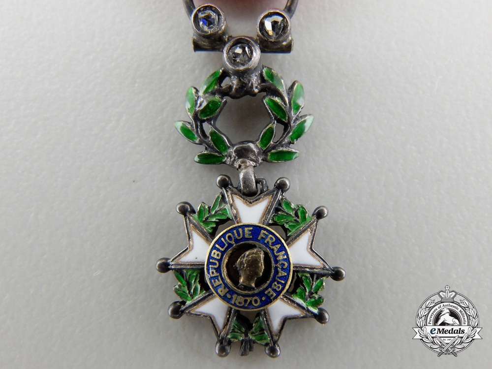 A Miniature French Legion D'Honneur with Diamonds