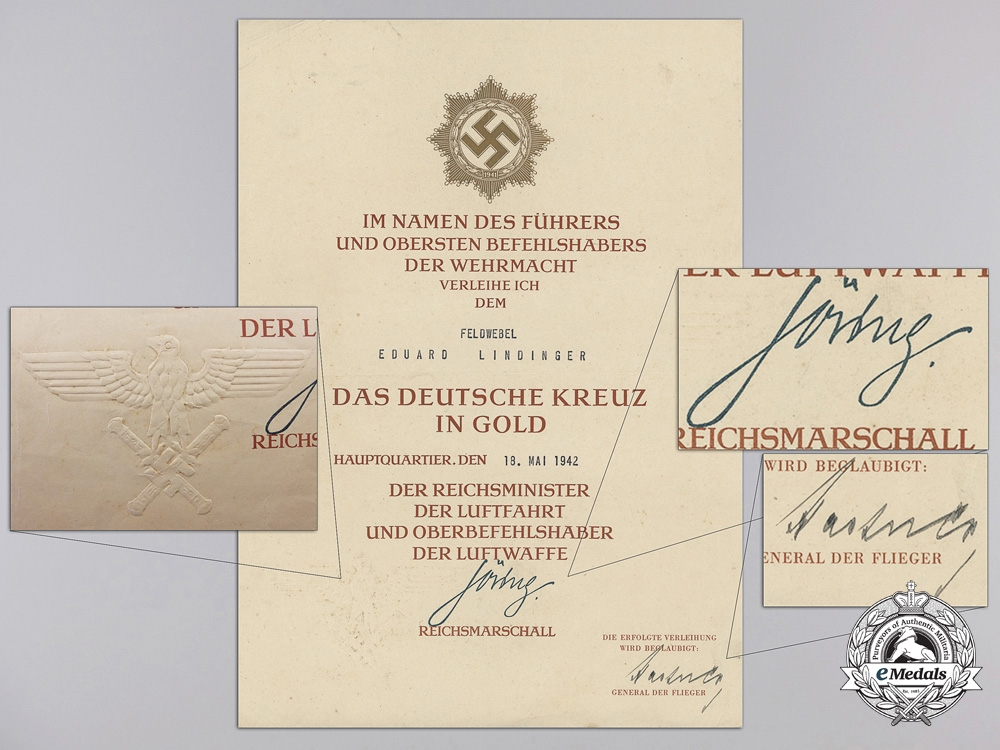 An Award Document Group to Honor Goblet & KC Recipient Eduard Lindinger