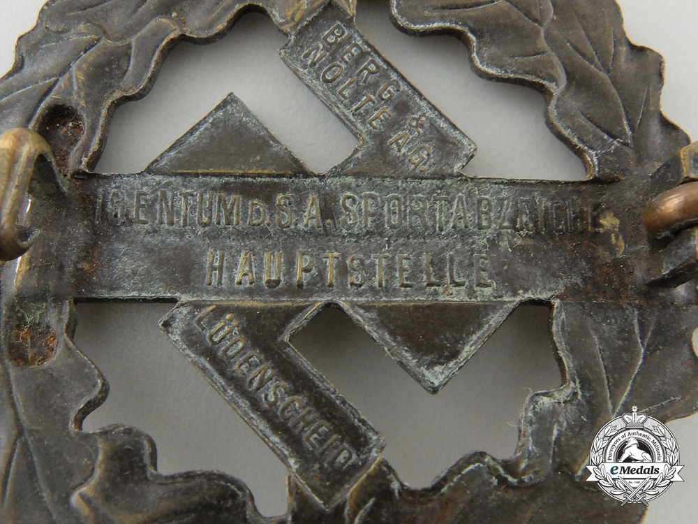 An SA Bronze Grade Sports Badge by Berg & Nolte