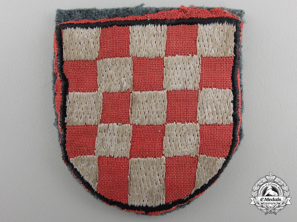 A Second War Croatian Volunteer Shield; Cloth Version
