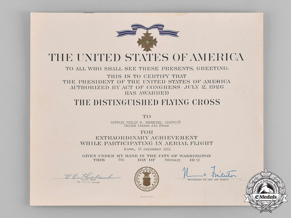 United States. A DFC & Air Medal Group to Capt. Philip Browning, Aerial Photographer, KIA, 1951 near Yandok, Korea.