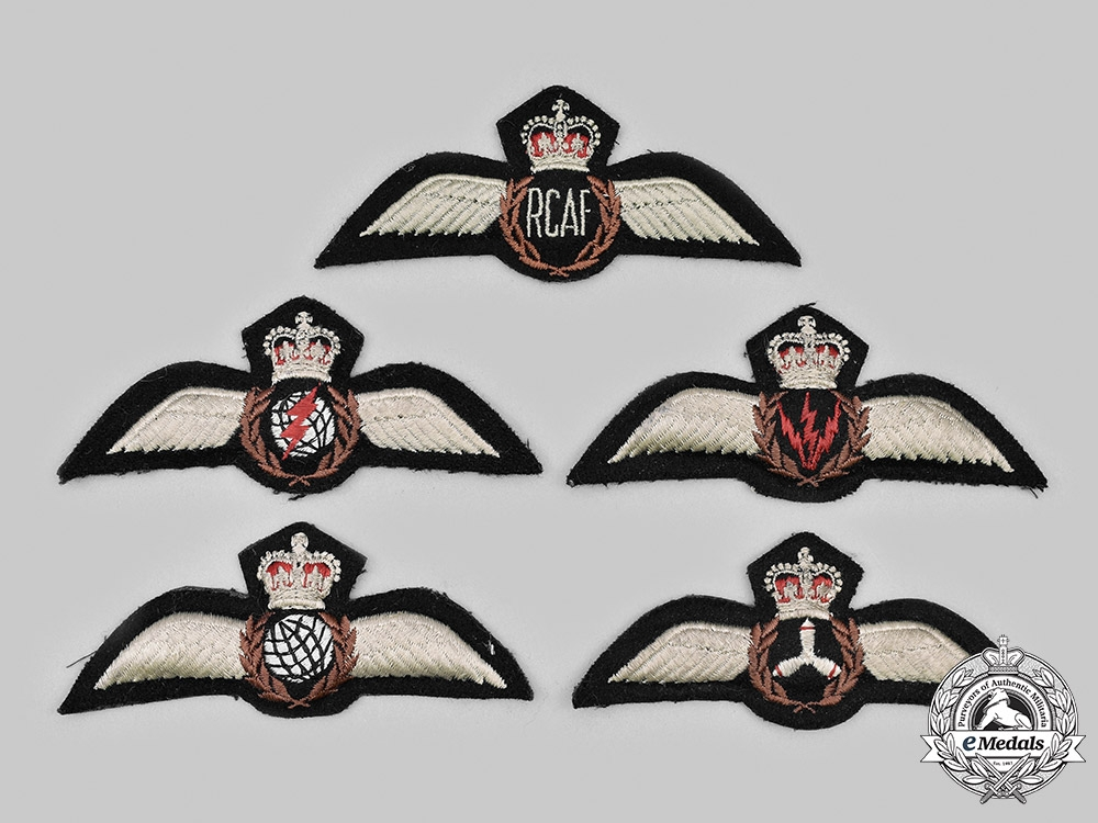 Canada, Commonwealth. A Lot of Five Royal Canadian Air Force (RCAF) Badges c. 1953-1968