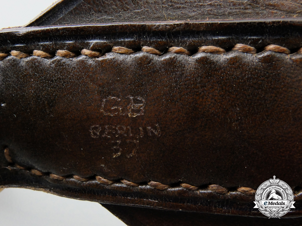 A German Leather Standard Bearer Belt by G.B., Berlin