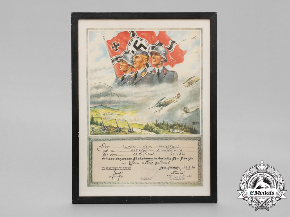 A Framed Certificate of Service in Heavy Flak Battery in Norway