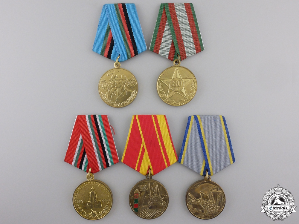 Five Afghanistan Campaign Commemorative Medals