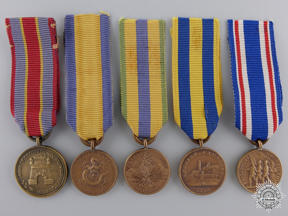 Five American Miniature Campaign Medals