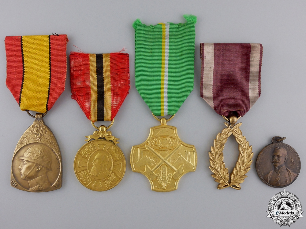 Five Belgian Medals, Orders, and Awards