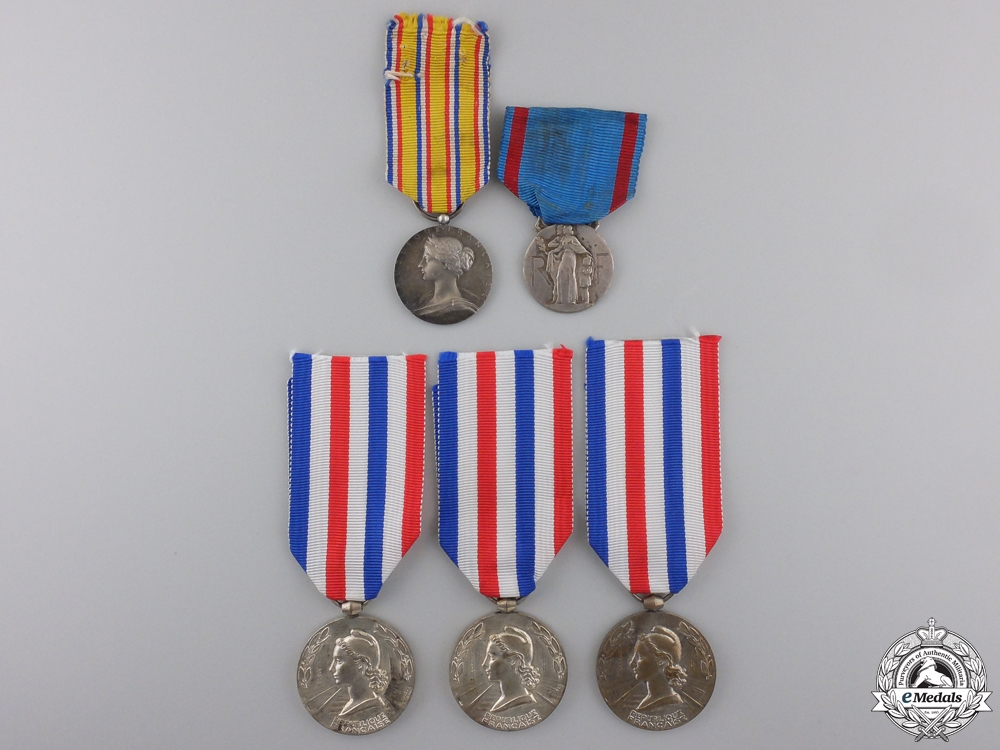 Five French Fire and Railway Service Medals