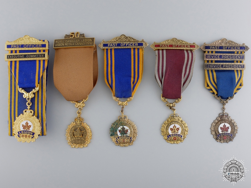 Five Royal Canadian Legion Officer Badges