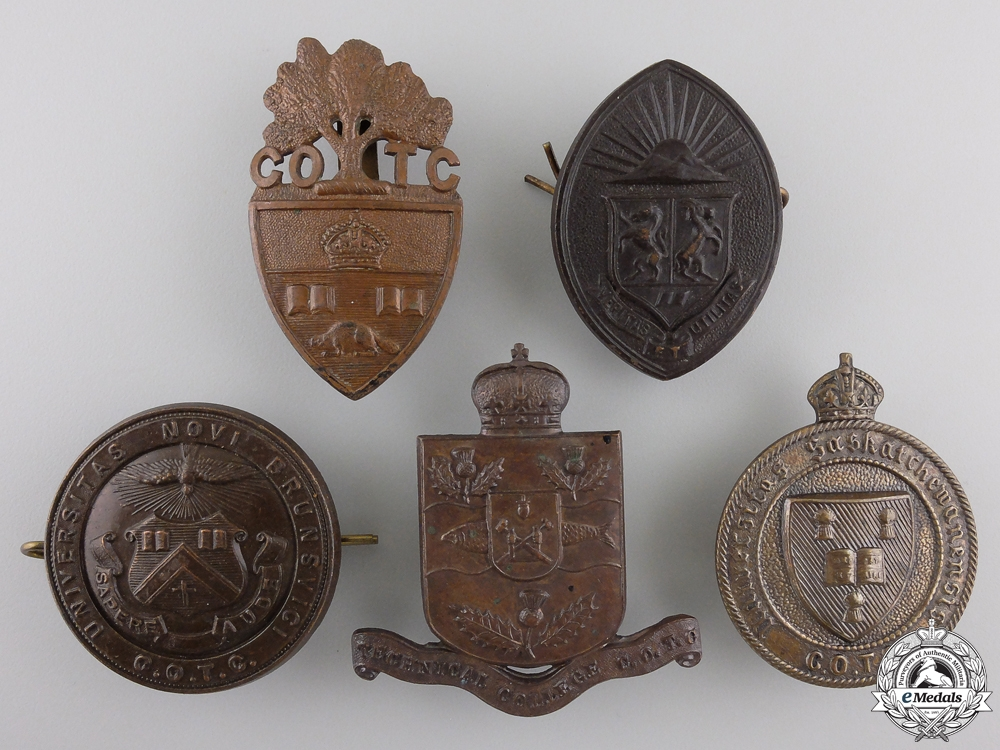Five Second War Canadian University Contingent C.O.T.C. Cap Badges