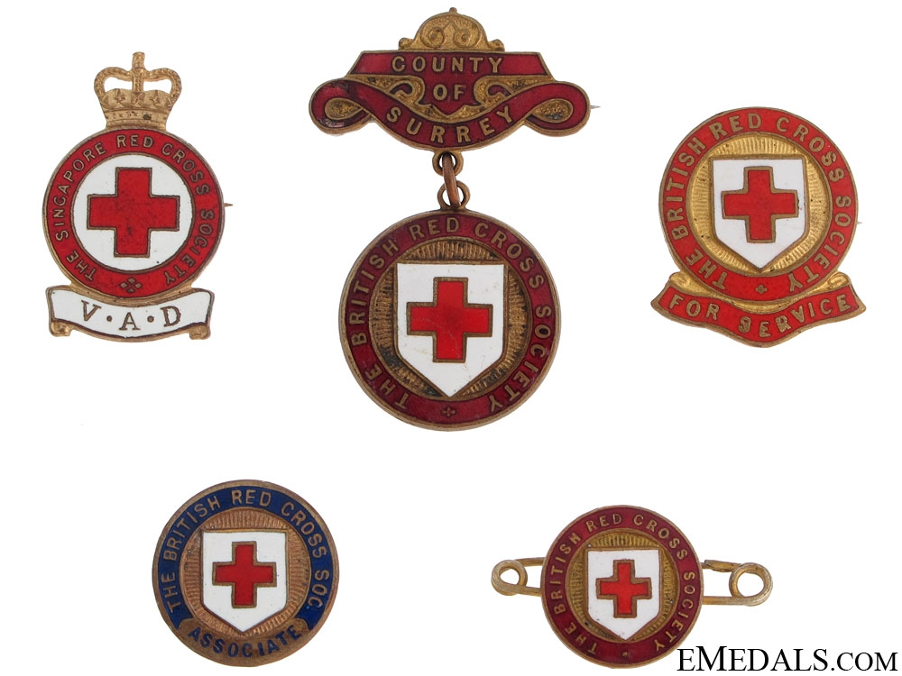 Five British Red Cross Badges