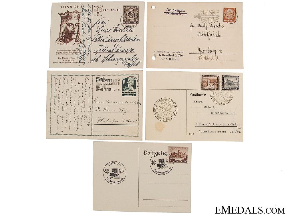 Five WWII Winterhilfswerk (WHW) Postcards