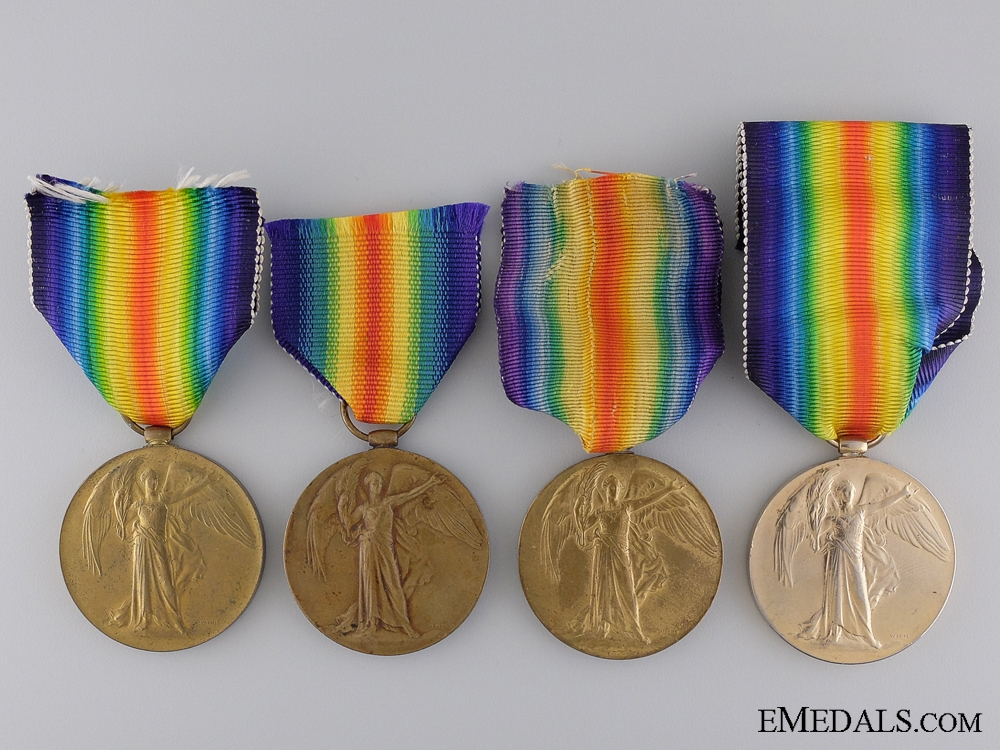 Four British First War Victory Medals