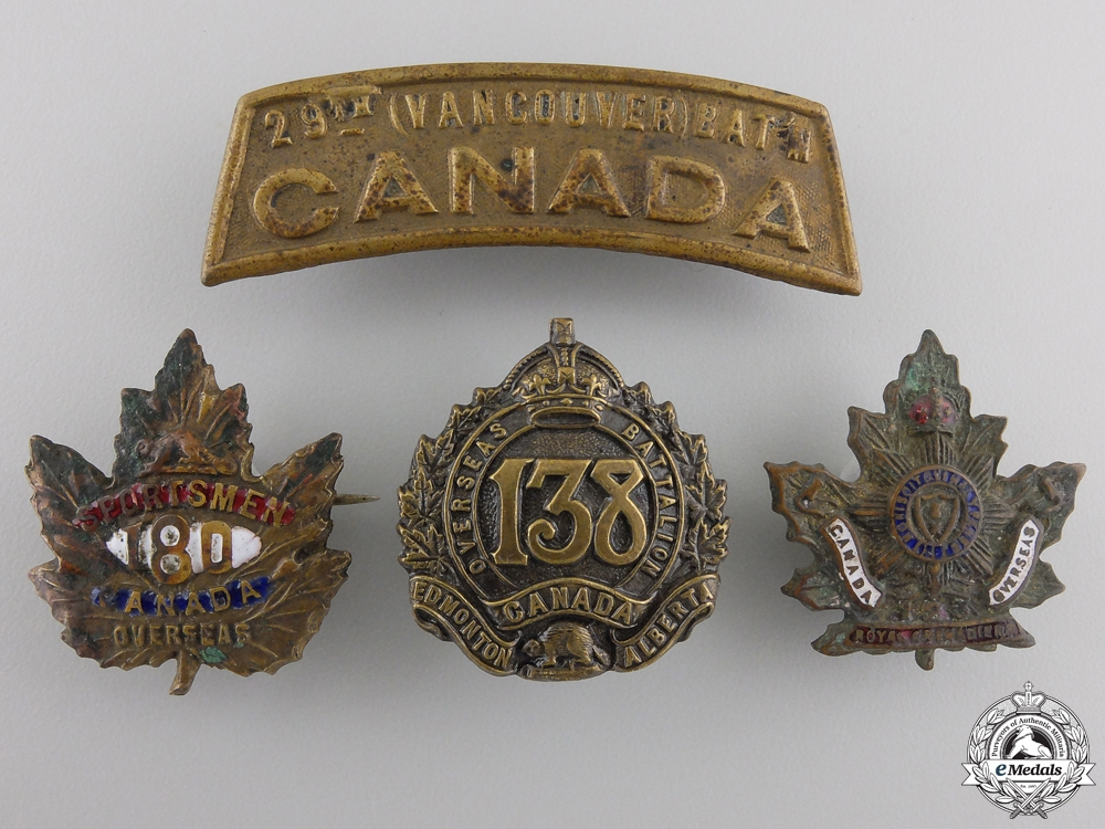 Four First War Canadian Badges
