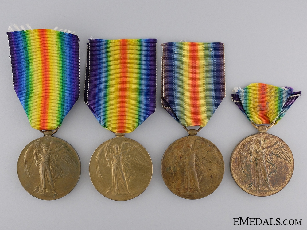 Four First War Regimental Victory Medals