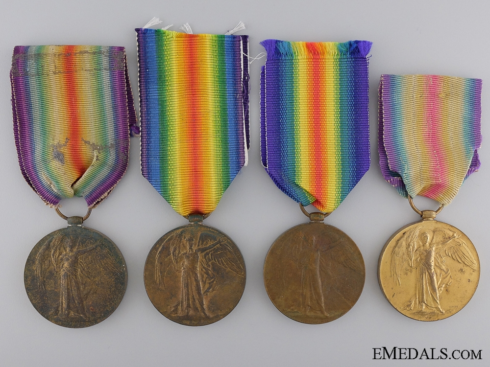 Four First War Victory Medals to the Army Service Corps