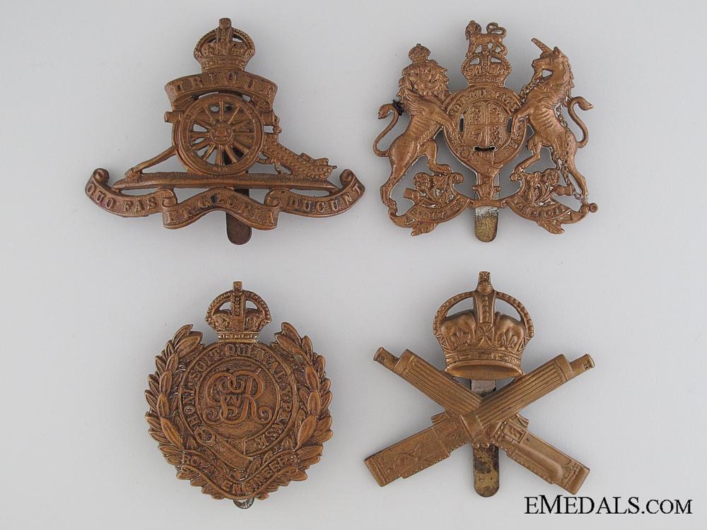 Four WWI British Cap Badges