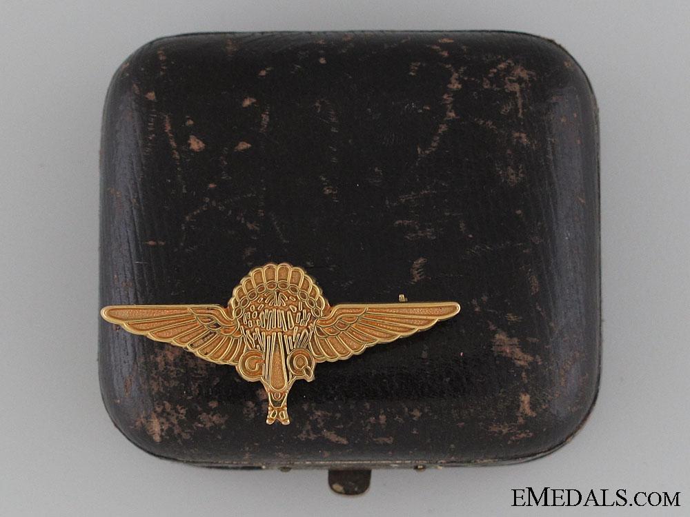 G.Q. Parachute Gold Jump Pin to F.Lt. G.E.Cruwys