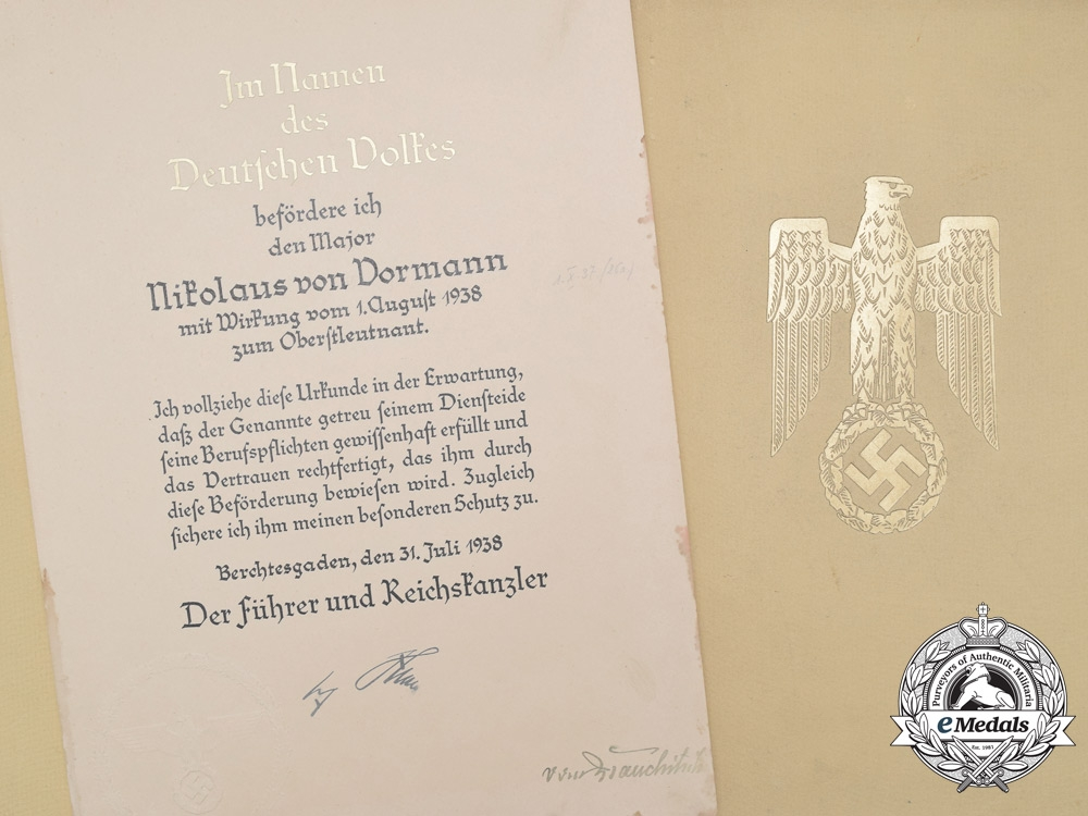A Large Promotion Document to Commander of 23rd Panzer Division