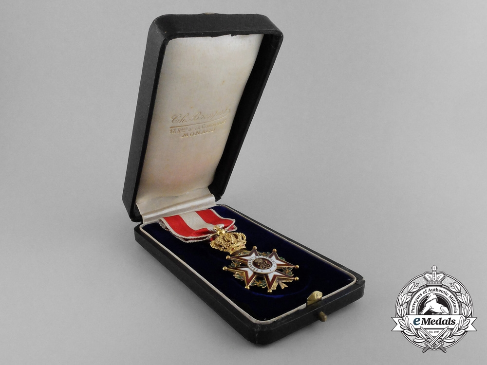 A Fine Order of St.Charles of Monaco in Gold by Kretzly with Case