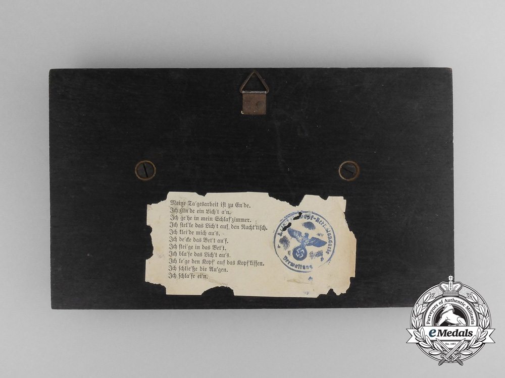 A 1937 First War Memorial Plaque to Machine Gun Platoon Leader