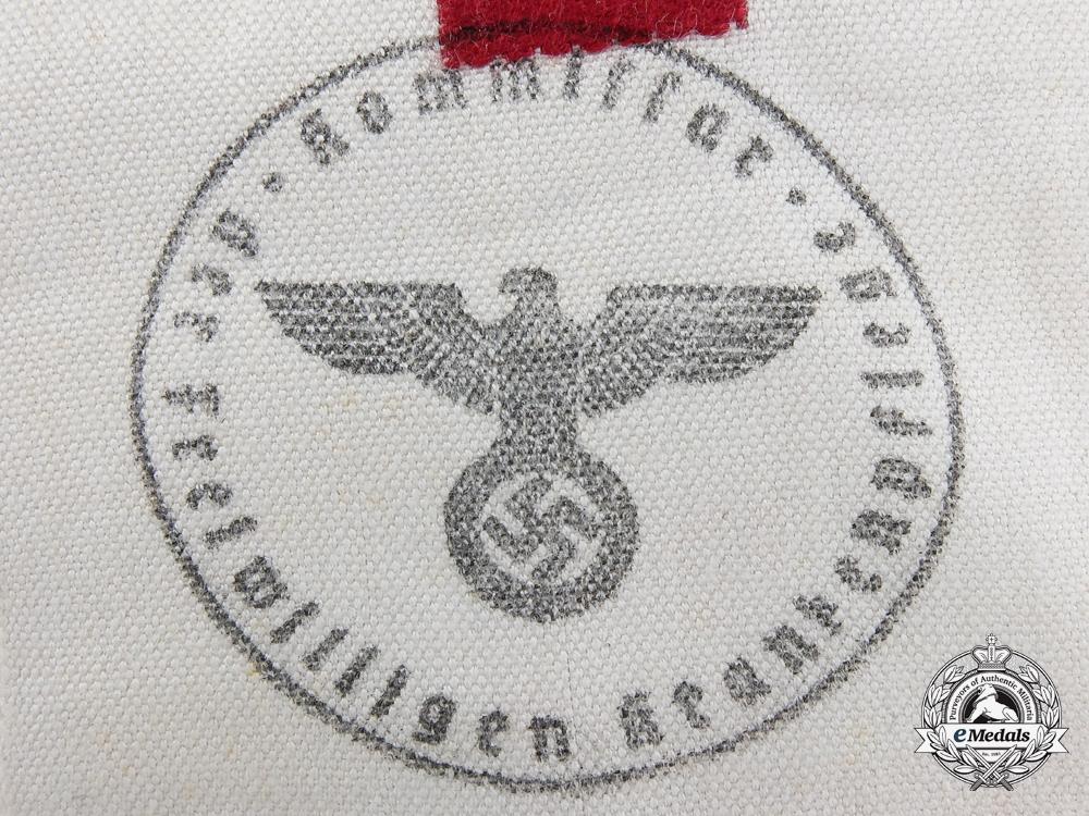 A Second War German Red Cross Brassard (Armband) for Volunteer Stretcher Bearers