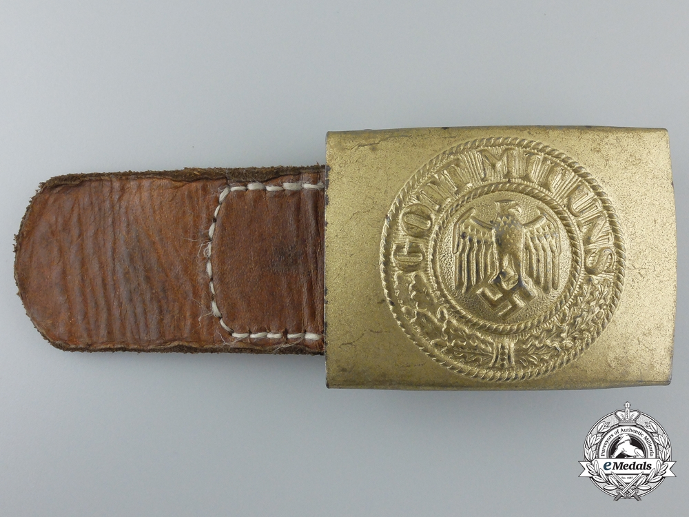 A Kriegsmarine Buckle with Leather Tab; Published Example by Dransfeld & Co Menden