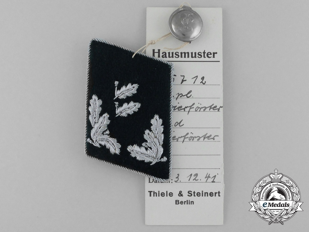 A Mint and Unissued Revierförster Collar Tab by Thile & Steinert; Dated 1941
