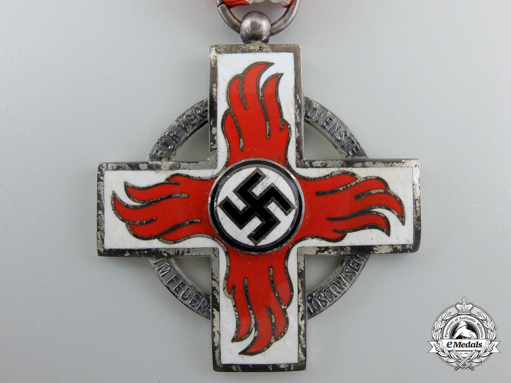 A German Fire Service Decoration; Second Class with Case