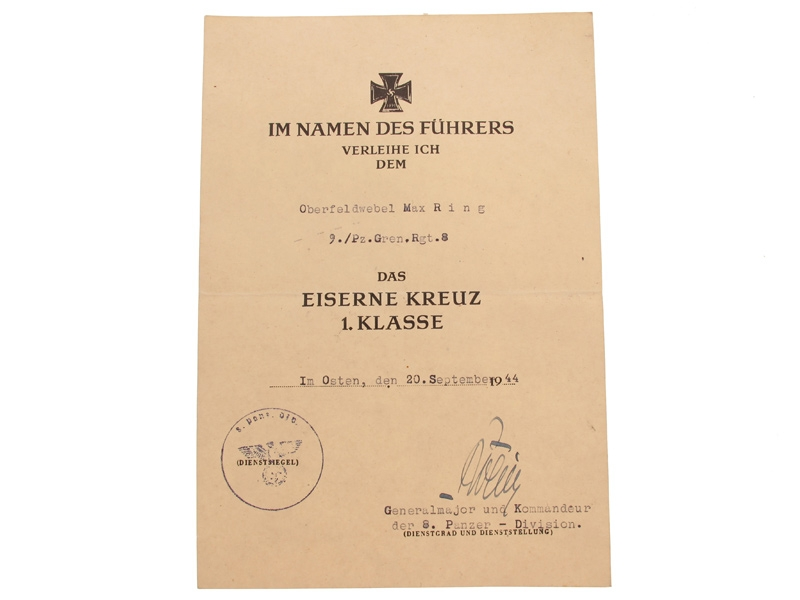 Iron Cross 1st.Cl Award Document,
