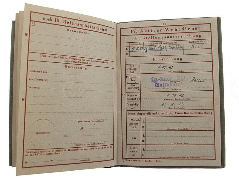 Soldbuch of Wilhelm Boehning - KIA March 18th 1944