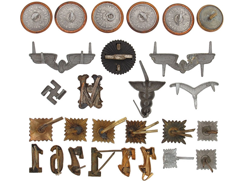 Collection of 27 Insignia, Pins, & Buttons