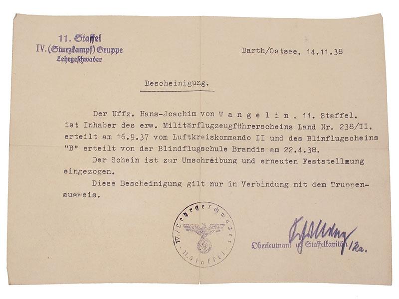 Complete & Impressive Knight's Cross Group to Unteroffizier Hans-Joachim von Wangelin