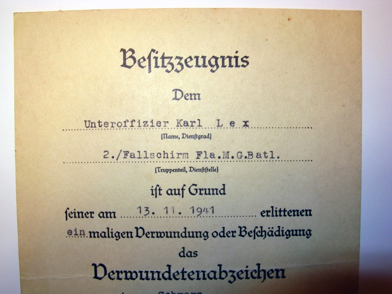 Fallschirmjäger, Four Award Documents