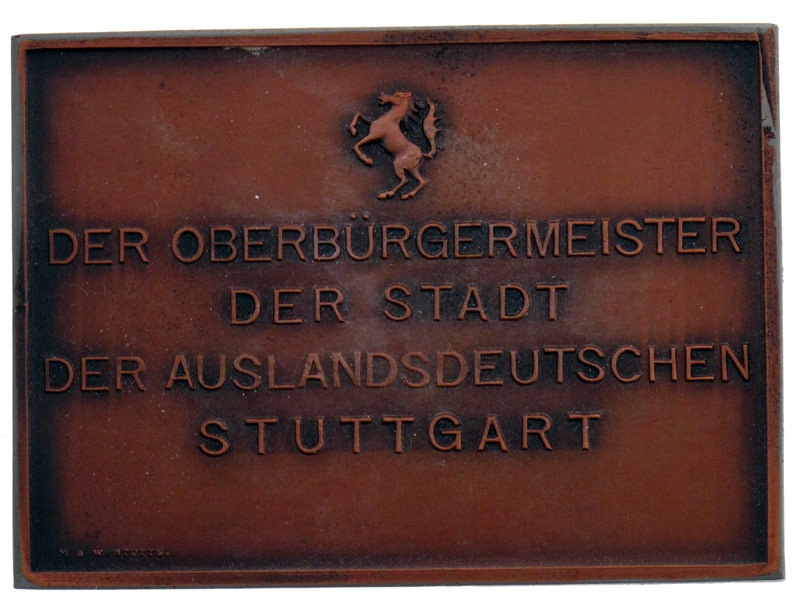 "Cased Stuttgart ""¢�Sternflug""¢� Plaque 1937"