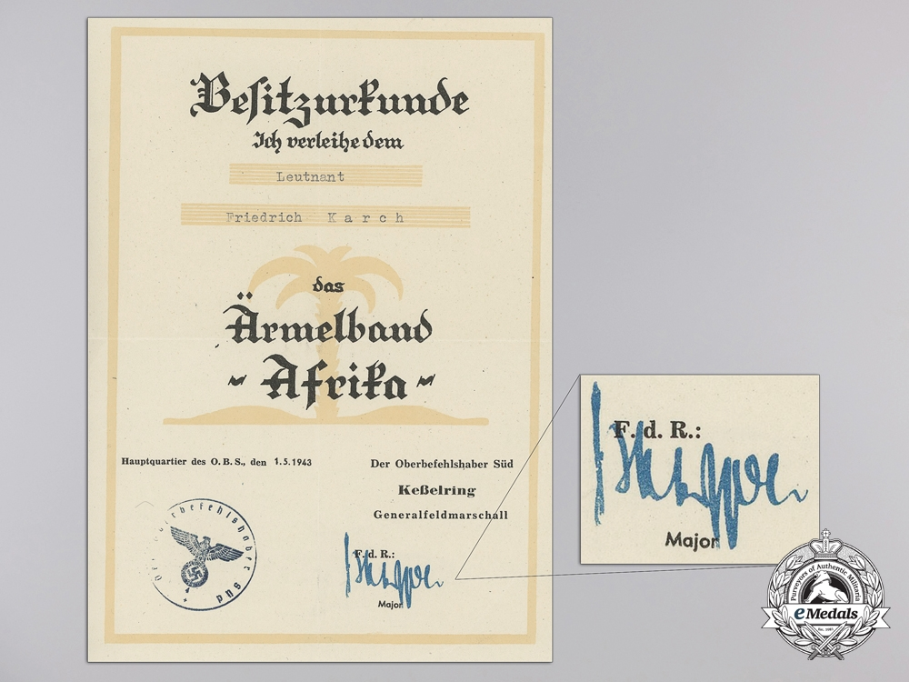 A Group of Documents to a Luftwaffe Fighter Ace Fritz Karch; 47 Air Victories