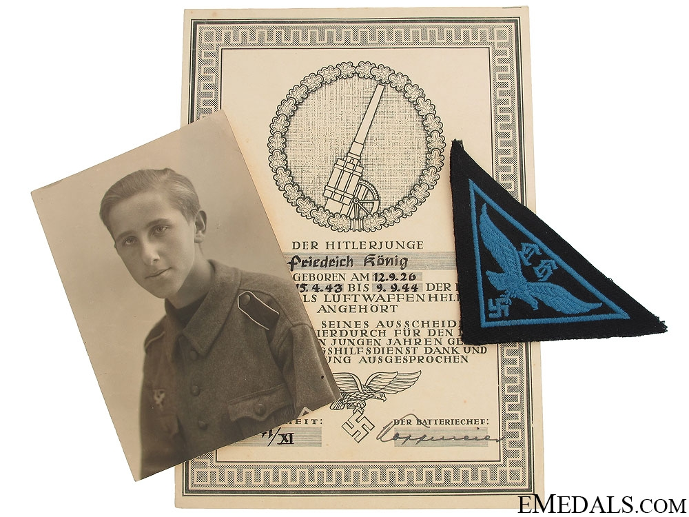 Hitler Youth Service certificate - Flak Helper
