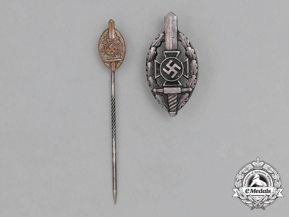 Two NSKOV Membership Badges and Pins by Deschler & Sohn