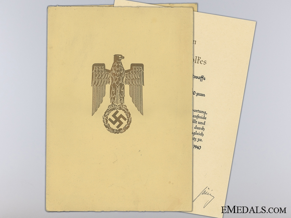 A June 1940 Luftwaffe Promotion Document to Major Euteneuer