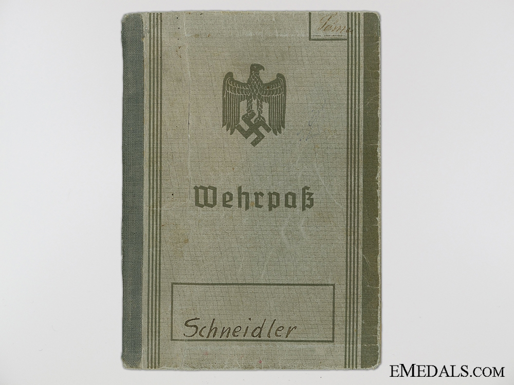 The Wehrpass Erwin Schneidler; Espionage and Covert Operations