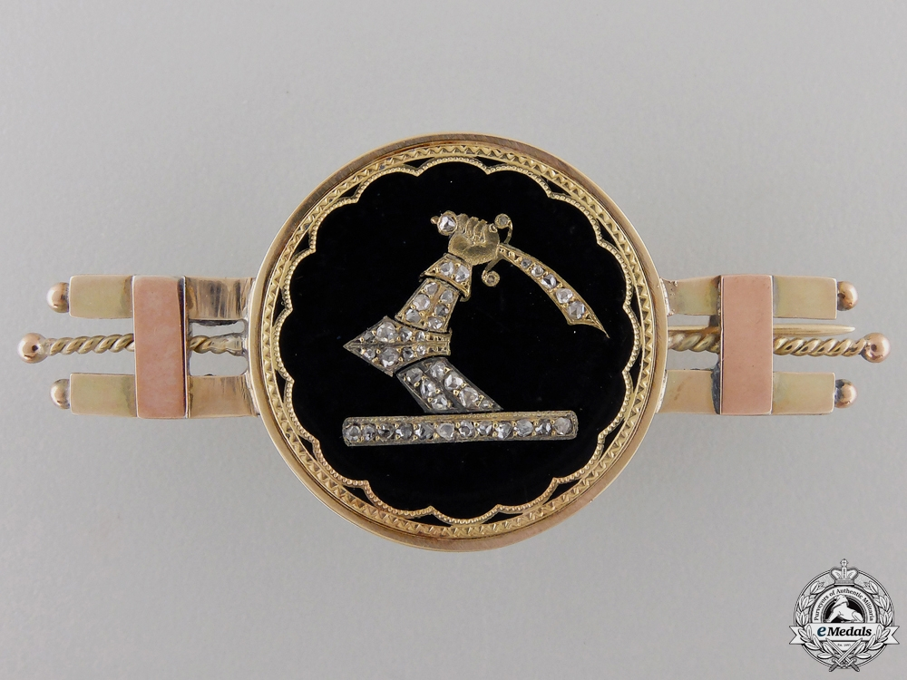 A Most Exquisite Royal Military College Pin in Gold & Diamonds Consignment #17