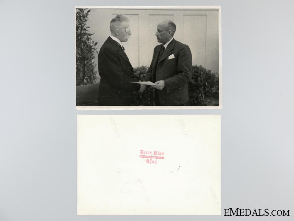 Award Document for the German Social Welfare Award 3d Class with Photos