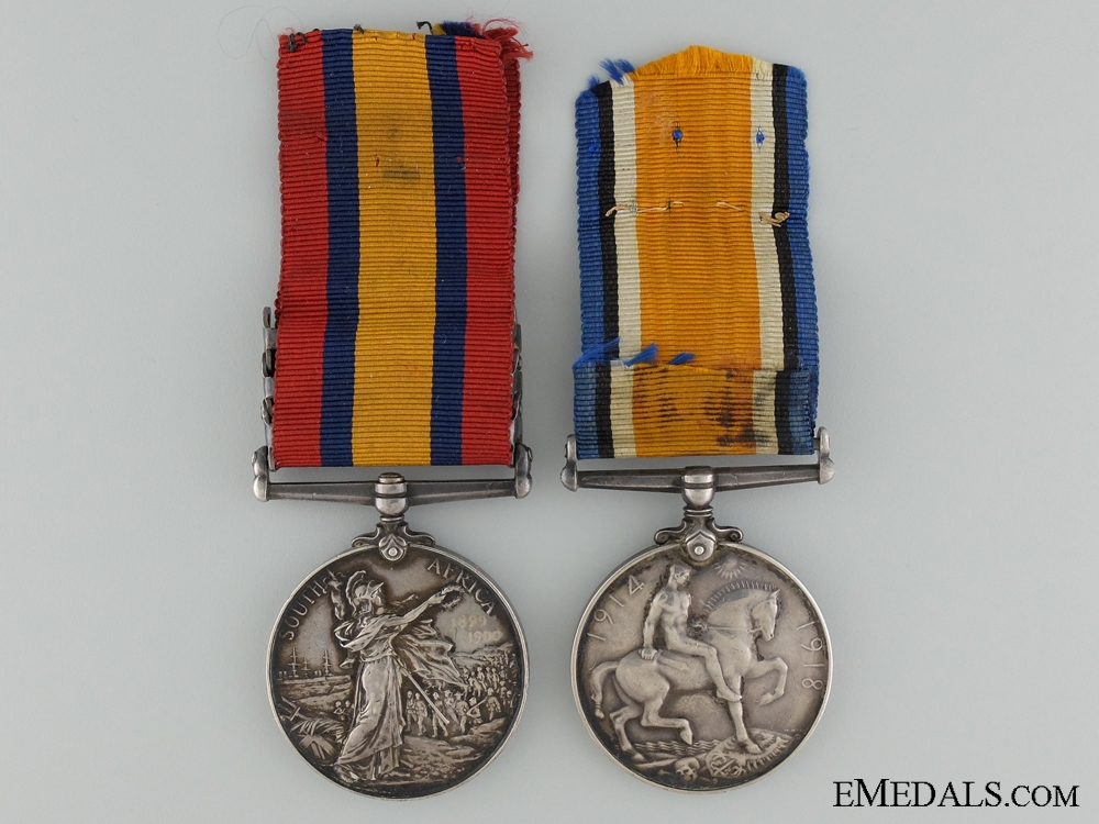 A Boer War & WWI Pair to Private Ridgewell; 77th Battalion