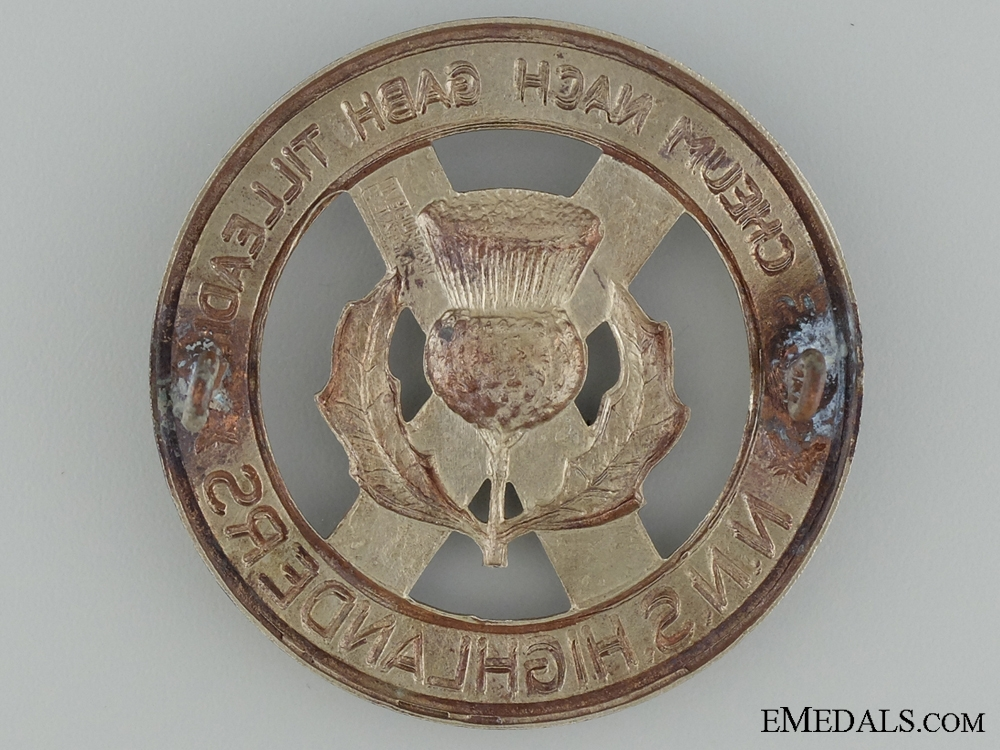 WWII North Nova Scotia Highlanders Glengarry Badge