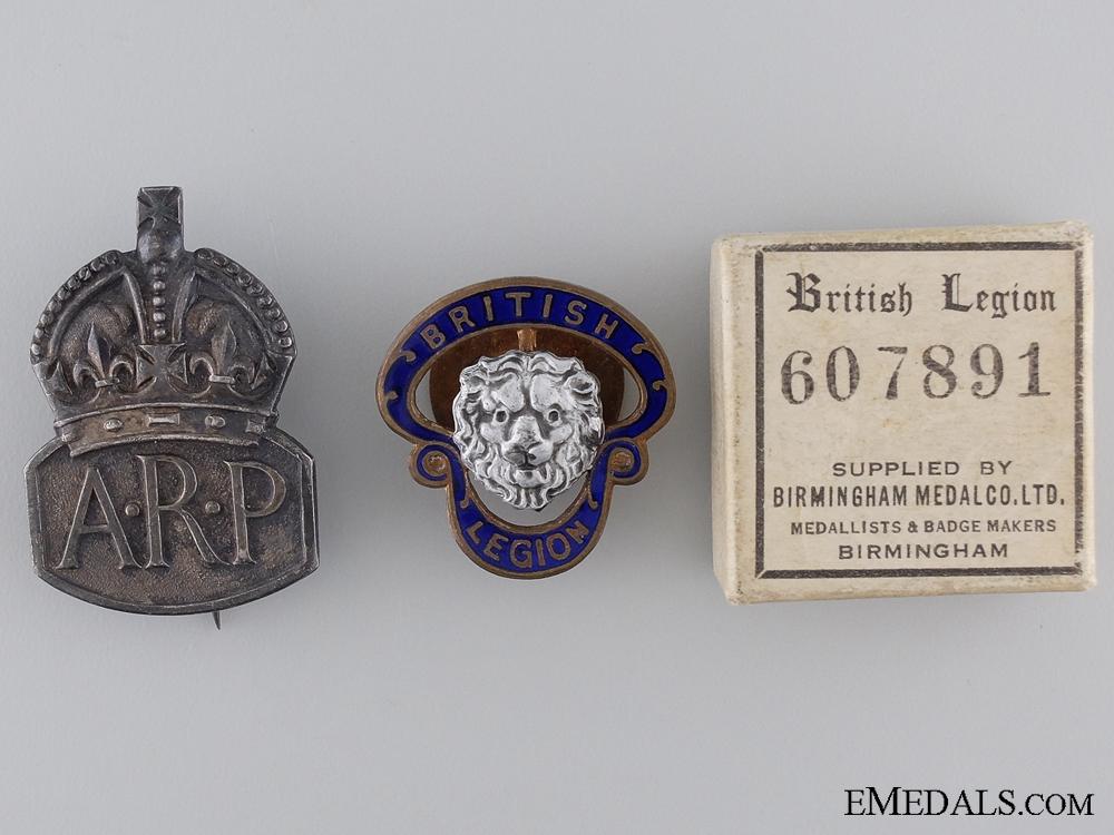 WWII Air Raid Precautionary (ARP) Service and British Legion Badges