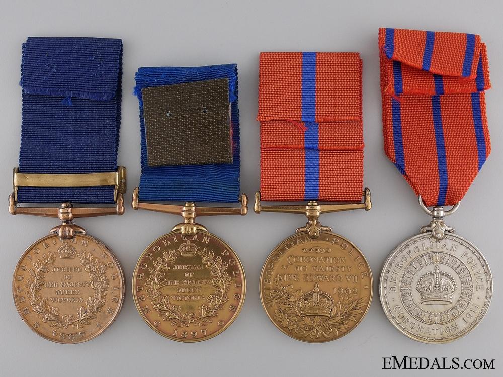 Four Metropolitan Police Coronation & Jubilee Medals