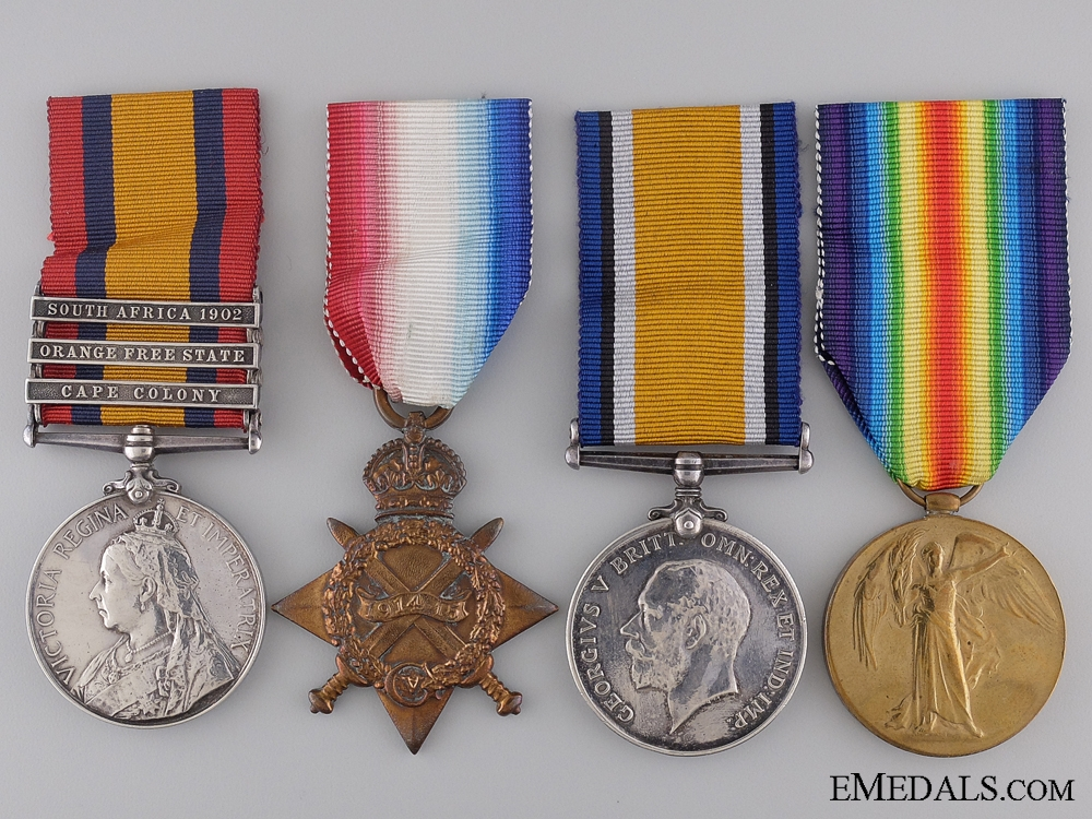 Four Medals to Private A.Hall; Wounded at Kitcheners' Wood 1915