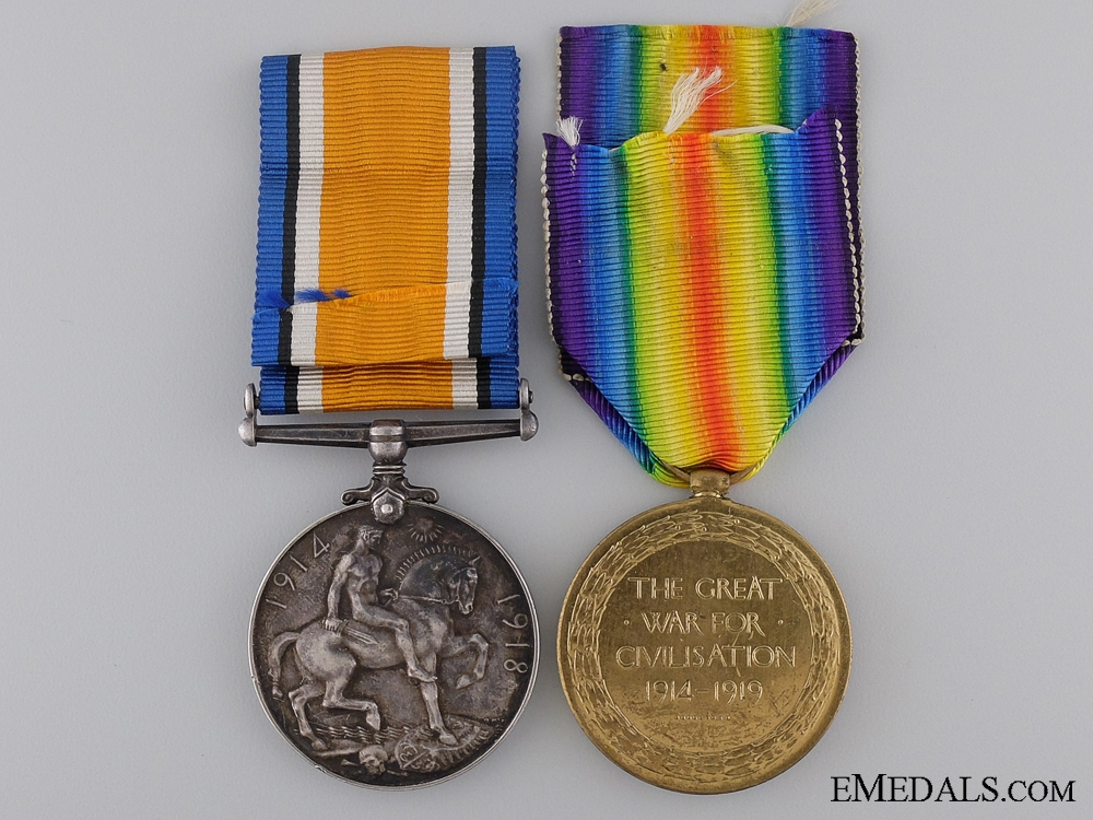 A First War Medal Pair to Major Edwin Warner C.A.M.C.  Consgin: 17