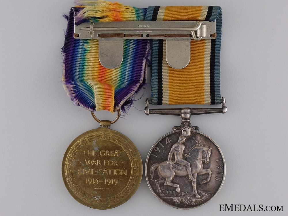 A First War Service Medal Unnamed Medal Pair