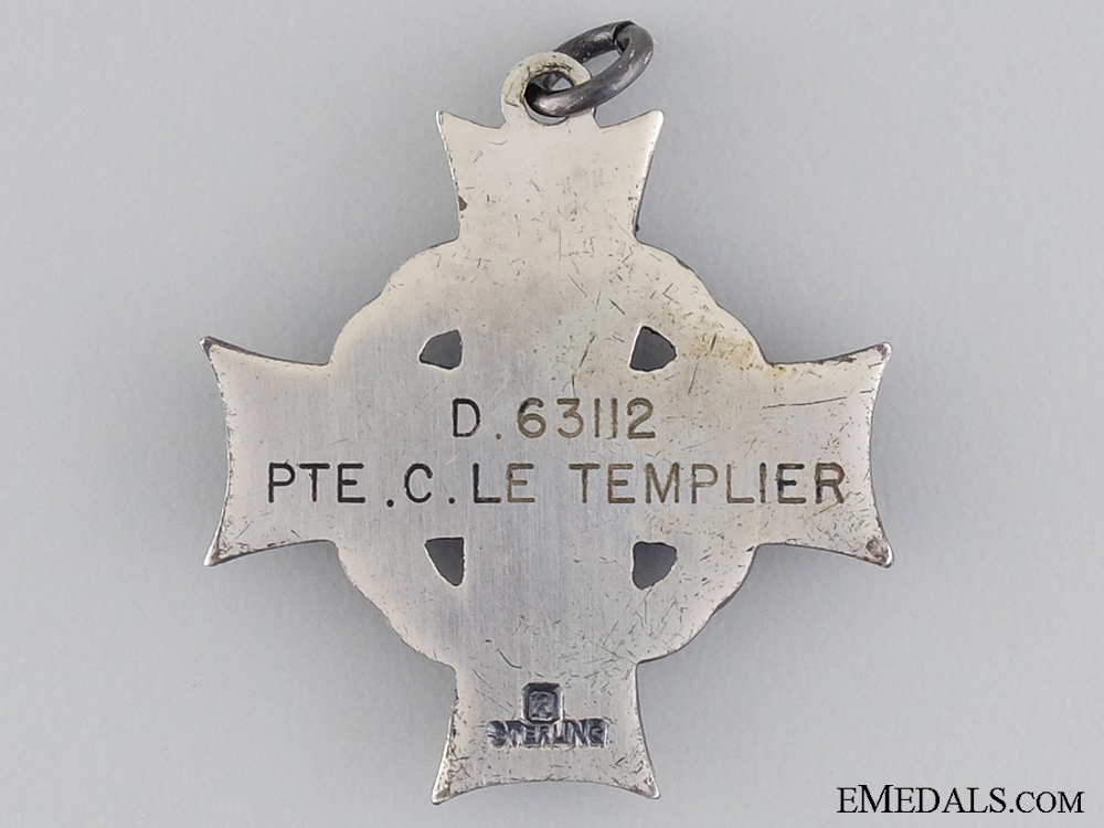 A GVI Canadian Memorial Cross to Private C. Le Templier